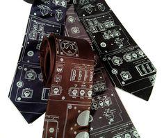 """Space Shuttle Console men's silk tie. """"Rocket Science"""" necktie. Ice blue screenprint. Choose standard or narrow width."""