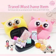A few of my guilty pleasures are represented in this 1 pic: Travel, Etude House products, and cutsie Kawaii stuff XD