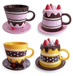 Mugs that look like cakes! It would be so cute sitting in the cupboard, and then tempting to drink out of with a piece of cake.
