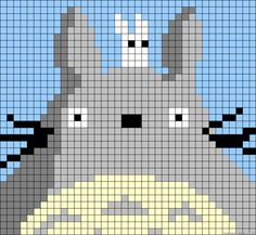 Totoro perler bead pattern - could be used as cross stitch pattern, I'm sure Totoro, Beaded Cross Stitch, Cross Stitch Embroidery, Cross Stitch Patterns, Pixel Crochet, Crochet Cross, Hama Beads Patterns, Beading Patterns, Kawaii Cross Stitch
