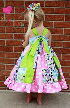 Girls Boutique Patchwork Dress Sewing Pattern. Geez!! I so wish my daughter would wear dresses!