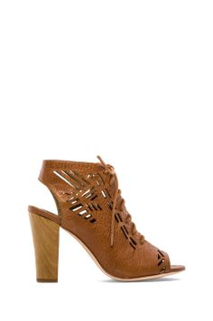 Twelfth Street By Cynthia Vincent Sivan Laser Cut Lace Up Suede Sandal in Cognac from REVOLVEclothing