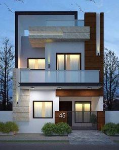Fachadas de casas simples com varandas housefrontdesign Bungalow House Design, House Front Design, Small House Design, Best Modern House Design, Modern Minimalist House, Modern Villa Design, Latest House Designs, Modern Exterior House Designs, Modern House Facades