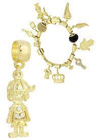 Berloque folheado a ouro em forma de menino c/ strass (Pandora inspired)-Clique para maiores detalhes