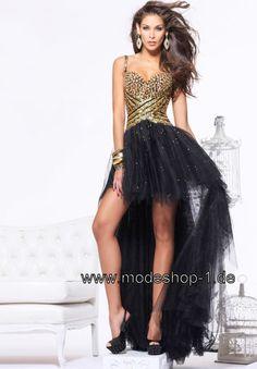 Tüll Vokuhila Abendkleid in Schwarz Gold    Im Mode Shop Shoppen Vokuhila Abendkleid Cocktailkleid Vorne Kurz Hinten Lang in 32 34 36 38 40 42 44 46 48 50 52 54 56 58 60 62 64  von www.modeshop-1.de