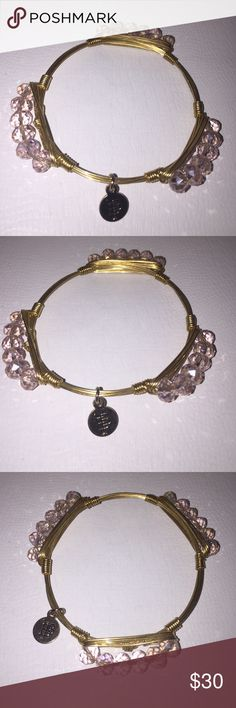 "Bourbon and Boweties Light Pink Millie Pebble Gold plated wire with clear pink crystal beads.  2.5"" diameter.                                             Bourbon and Boweties bangles by Carley Ochs are handcrafted and made with druzy stones, coins, shotgun shells, semiprecious stones, geodes, smoky quartz, Lava stones, shells, turquoise, jade, polished coral, Peruvian opal, agates and many more all wrapped with gold plated wire. ""Made by proud Southern hands"" right here in the good ole…"