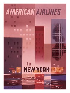 American Airlines travel poster, 1950s