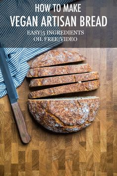 Make delicious vegan artisan bread at home! Crunchy and flakey crust with soft and fluffy inside. Just 5 ingredients! No dairy or eggs! Vegan Baking Recipes, Dairy Free Recipes, Whole Food Recipes, Vegetarian Recipes, Cooking Recipes, Vegan Foods, Vegan Snacks, Vegan Dinners, Vegan Desserts