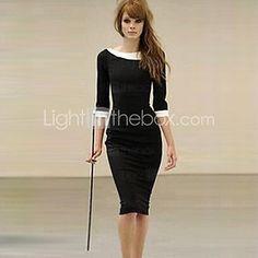 XinYuanGe® Women's Turn Down Collar Seven Point Sleeve Loose Dress   LightInTheBox