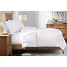 Home Decorators Collection 500 Thread Count Egyptian Cotton Sateen 3-Piece Full/Queen Duvet Cover Set in White 500TC_Duvet_FQ_White - The Home Depot Down Comforter, Comforter Cover, King Comforter, Queen Duvet, Duvet Covers, King Duvet Cover Sets, Duvet Sets, Egyptian Cotton Sheets, White Duvet