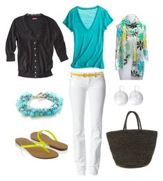 """""""Bright and Casual"""" by bluehydrangea ❤ liked on Polyvore featuring Chelsey, Calypso St. Barth, Forever 21, Sensi Studio, 7 For All Mankind, Ted Baker, Morra Designs, Fantasy Jewelry Box, printed scarves and cardigans"""