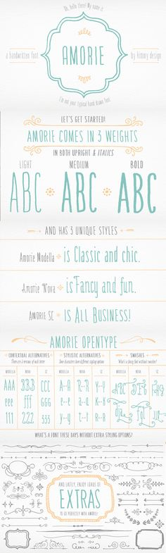 Monster Creative Font Bundle: Amorie Complete Font Family by Kimmy Design. Amorie is a tall and skinny hand drawn font. It comes in various weight and styles, and with an array of opentype options. Built to appear completely hand crafted, different designers could produce completely different results.
