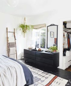 A Small, Awkward Master Bedroom Makeover With an A+ DIY Custom Headboard - All For Decorations Furniture For You, Bedroom Furniture, Bedroom Decor, Bedroom Ideas, Bedroom Inspiration, Dream Master Bedroom, Master Bedroom Makeover, Custom Headboard, Big Rugs