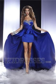 A-Line Sheath/Column Sweetheart Strapless Satin Party Dresses at IZIDRESSES.com