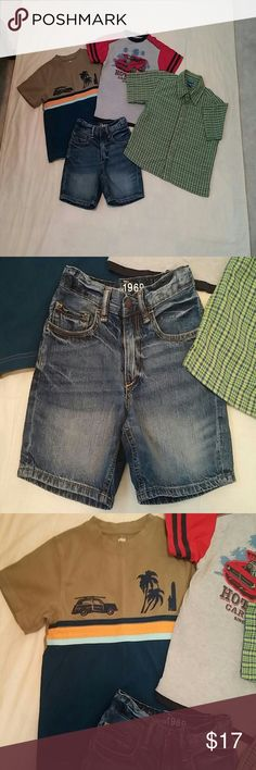 Boys Sz 6 Gap Shorts Gymboree Curfew Kids Shirts Very nice Gap Boys size 6 regular 1969 shorts adjustable waist slide hook n zip close. Nice Gymboree. Shirt. Nice Healthtex w premium raised embroidered car and nice curfew kids well made dress shirt w front pocket. Size 6. Non smoking Home. GAP Bottoms Shorts