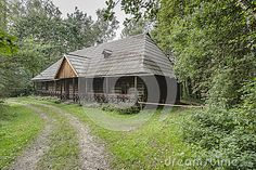Road to the old wooden cottage in open-air museum in Nowy Sącz . Poland