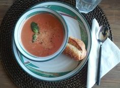 La Madeleine's Tomato-Basil Soup. I used canned crushed tomatoes and half tomato juice and half chicken broth. We loved it!
