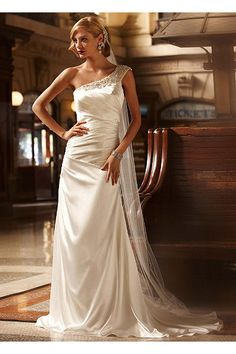 Soft Gown with Ruched Bodice and Embellished Strap AI26020048