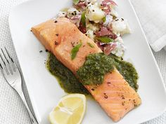For a healthier approach to preparing fish, try this recipe for Pesto Salmon and Potatoes. Steam salmon and top it with bright, homemade pesto. Serve with new potatoes mashed with nutty Pecorino cheese.