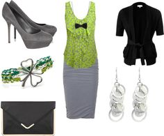 """Teacher Style - Grey, Black, and Lime"" by becka-boo1220 on Polyvore"