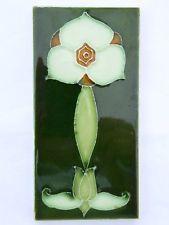 Sehr seltene Jugendstil Fliese art nouveau tile geschlickert tubelined