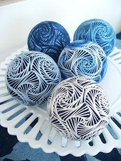 Blue Swirls Temari  by empresswu designs, via Flickr