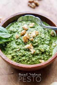 Basil Walnut Pesto - Vitamin Sunshine / This fresh pesto takes 5 minutes to make, and is a super fresh, vibrant topping for salads, sandwiches, meats.. perfect summer condiment!