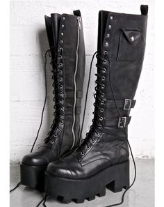 Current Mood Jane Doe Boots feature a sleek matte black vegan leather construction, rounded toe, buckled details thick cutout treaded soles, small snap pockets on the sides. Lace Up Boots, Black Boots, Leather Boots, Knee Boots, Combat Boots, Cutout Boots, Tall Boots, Cute Shoes, Me Too Shoes