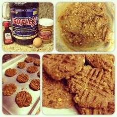 muffin top-less peanut butter protein cookies    1 cup natural pb (could sub almond butter, i used crunchy)  1.5 scoops vanilla whey protein powder (i used isoflex for this recipe)  1 whole cage-free egg  1 teaspoon vanilla extract  1/2 cup sugar substitute (i used stevia)  1/2 teaspoon vanilla creme liquid stevia  1 tablespoon water    mix wet ingredients first, the add pb. slowly add protein powder. preheat 350. use fork to press them down. bake 9-11 minutes.