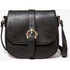 LOVE 21 CONTEMPORARY Buckled Faux Leather Crossbody ($16) ❤ liked on Polyvore