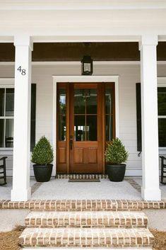 Trendy Ideas For Farmhouse Front Door Colors Garage Wooden Front Door Design, Wooden Front Doors, Front Door Entrance, House Front Door, Front Door Colors, Stone Front House, Country Front Door, Double Front Entry Doors, Black Front Doors