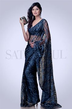 Grey French Lace Saree