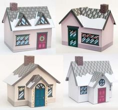 Christmas Time - Christmas Village Paper Model - by Brother - == = This beautiful Winter Village papercraft will give a nice touch for your Christmas decor. By Brother, British website. Mini House Plans, Home Crafts, Diy And Crafts, Diy Paper, Paper Crafts, House Template, Miniature Houses, Mini Houses, Putz Houses
