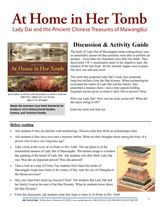 NEW! At Home in Her Tomb: Lady Dai and the Ancient Chinese Treasures of Mawangdui Discussion & Activity Guide Printable for Grades 6-8 https://www.teachervision.com/archeology/printable/74819.html #midleved #litchat #archaeology #ancientChina #ELA