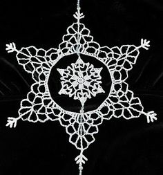 crocheted snowflake in a snowflake (with beads)... want to make a lace-like dress (or at least a lacey border for a dress) would be cute to wear to a christmas party