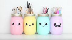 kawaii DIY Stifthalter - New Home Decor Pot Mason Diy, Mason Jar Crafts, Mason Jars, Kawaii Diy, Kawaii Room, Diy Tumblr, Pot A Crayon, Tumblr Rooms, Idee Diy