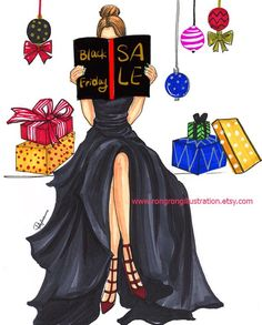 New fashion dresses illustration chic 31 ideas Christmas Drawing, Christmas Art, Xmas, Fashion Quotes, Fashion Art, Fashion Black, Desenho Pop Art, Creation Art, Illustration Mode