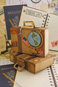 Suitcase to save mini album, with tutorial Mini Albums, Cute Suitcases, Vintage Travel Themes, Diy And Crafts, Paper Crafts, Travel Album, Travel Box, Travel Party, Marianne Design