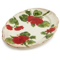 my fatal weaknesses all combined -- red, flowers, stoneware, platters