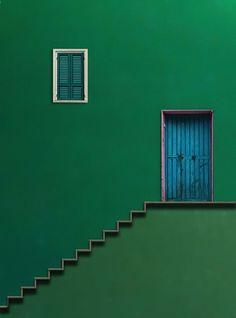 Verde Speranza — handa: Blue Door by Alfon No - Minimal Photography, Photography Composition, Colour Photography, Popular Photography, Green Life, Green Building, Windows And Doors, Shades Of Green, Green Colors