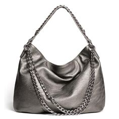 "You could scour the universe for a more go-with-everything bag, but between its fabulous steel color and super-cool lightweight chain embellishments, this one will reign supreme! Pebbled faux leather with hematite-colored metal chains. 17"" L x 14"" W (9"" handle drop)  ~ order at www.youravon.com/atodd"
