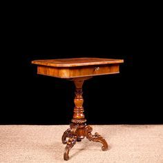 Side Table in Walnut and Burl Walnut with Turned and Carved Center Pedestal, England, c. 1850