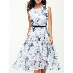 Elegant Jewel Neck Sleeveless Floral Belted Dress For Women, WHITE, XL in Print Dresses | DressLily.com