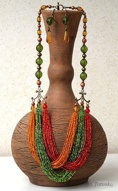 """Гарнитур """"31 июня"""" - зелёный,красный,оранжевый,рыжий,бронза,бисерные нити"""
