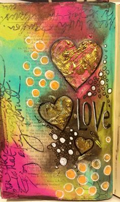 Altered book art journal page