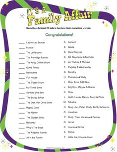 Printable It's A Family Affair - Retro Family Reunion Themes, Family Reunion Activities, Senior Activities, Family Games, Family Reunions, Halloween Activities, Youth Activities, Group Games, Planning A Family Reunion