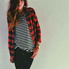 Attractive black and white shirt with red and black cardigan