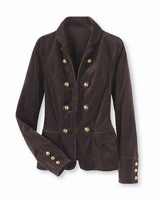 Military-Inspired Corduroy Blazer with Decorative Button Detail $39.99