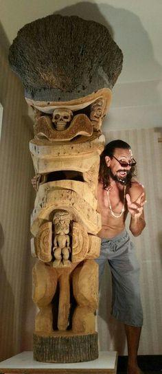 Crazy AL Tiki Art, Tiki Tiki, Bar Decorations, Tiki Head, Tiki Totem, Tiki Lounge, Hawaiian Tiki, Sculpture, Totems
