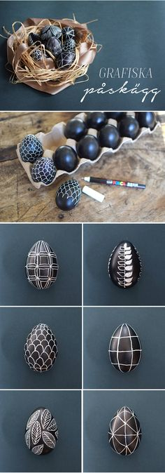 draw graphic patterns on eastereggs, easter diy